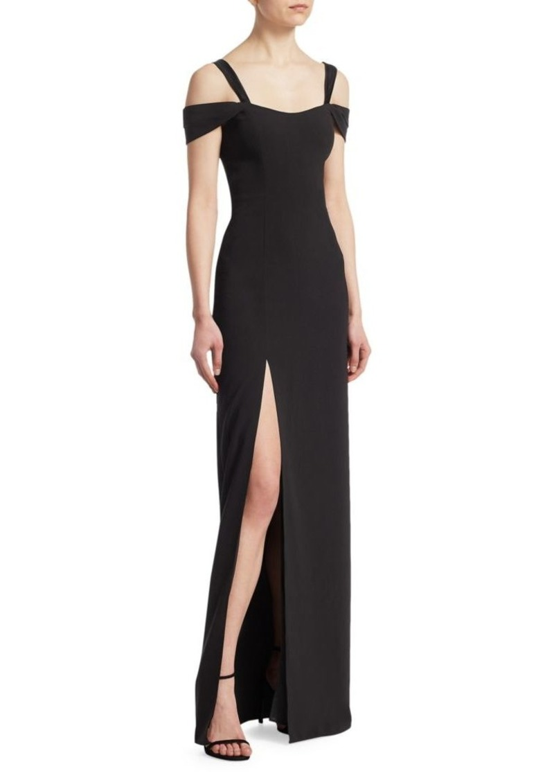 Halston Heritage Cold-Shoulder Slit Gown