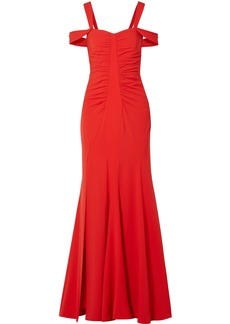 Halston Cold-shoulder Ruched Stretch-crepe Gown