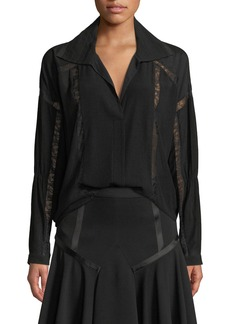 Halston Heritage Collared Button-Down Lace Detail Blouse