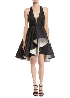 Halston Heritage Colorblock Mini Dress w/ Dramatic Skirt
