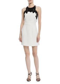 Halston Heritage Colorblock Mini Dress w/ Embroidered Top