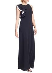 Halston Heritage Contrast Ruffle Sleeve Crepe Sheath Gown