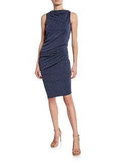 Halston Heritage Cowl-Neck Sleeveless Fitted Slub-Knit Dress