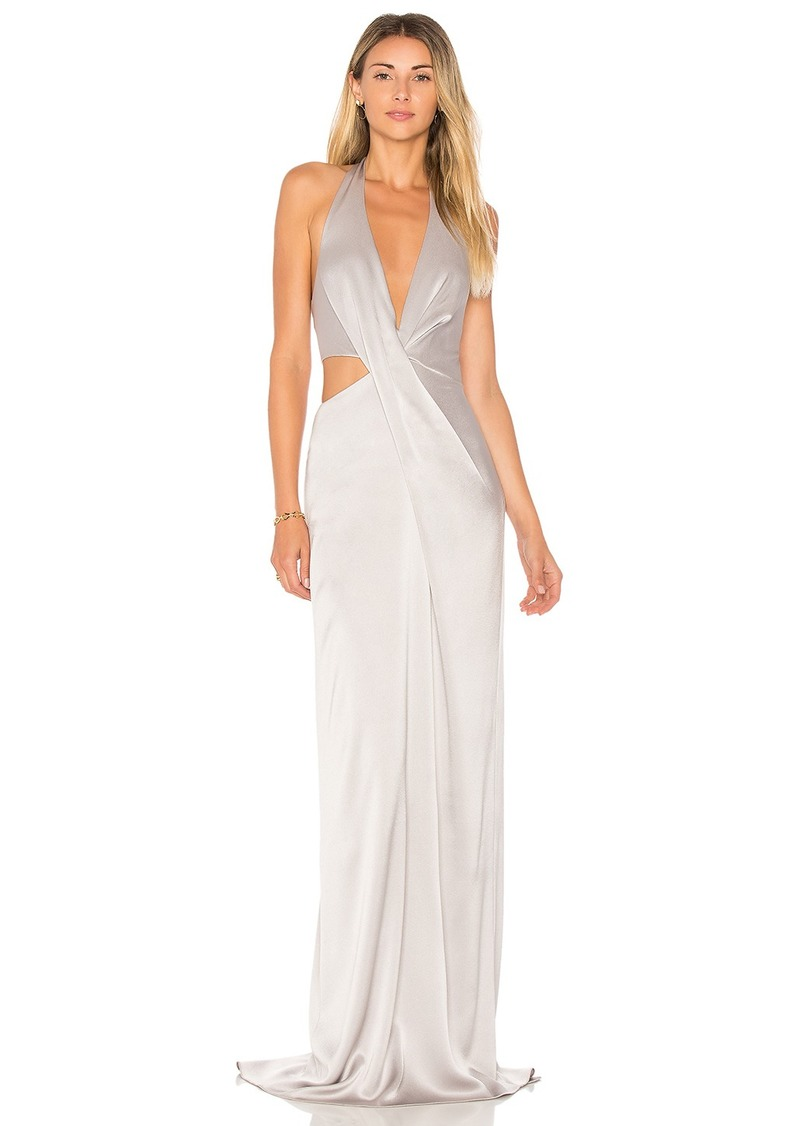 Halston Heritage Deep V Neck Draped Gown | Dresses