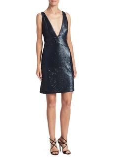 Halston Heritage Deep V-Neck Sequin Dress