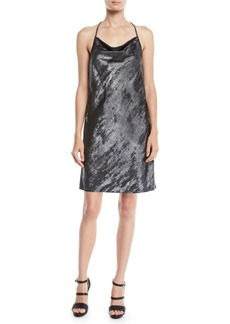 Halston Heritage Drape-Back Metallic Georgette Slip Dress
