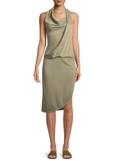 Halston Heritage Draped Cowl-Neck Sleeveless Jersey Dress