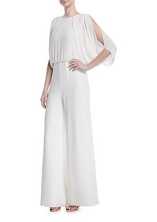 Halston Heritage Draped Open-Back Jumpsuit