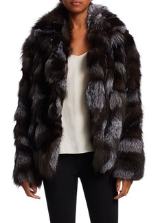 Halston Heritage Dyed Fox Fur Patched Jacket