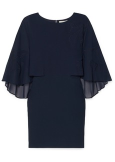 Halston Heritage Embroidered Cape-effect Crepe Dress
