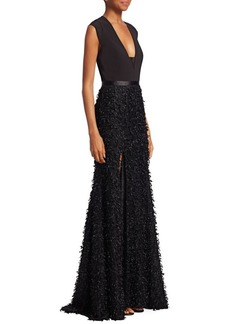 Halston Heritage Feather Boucle Gown