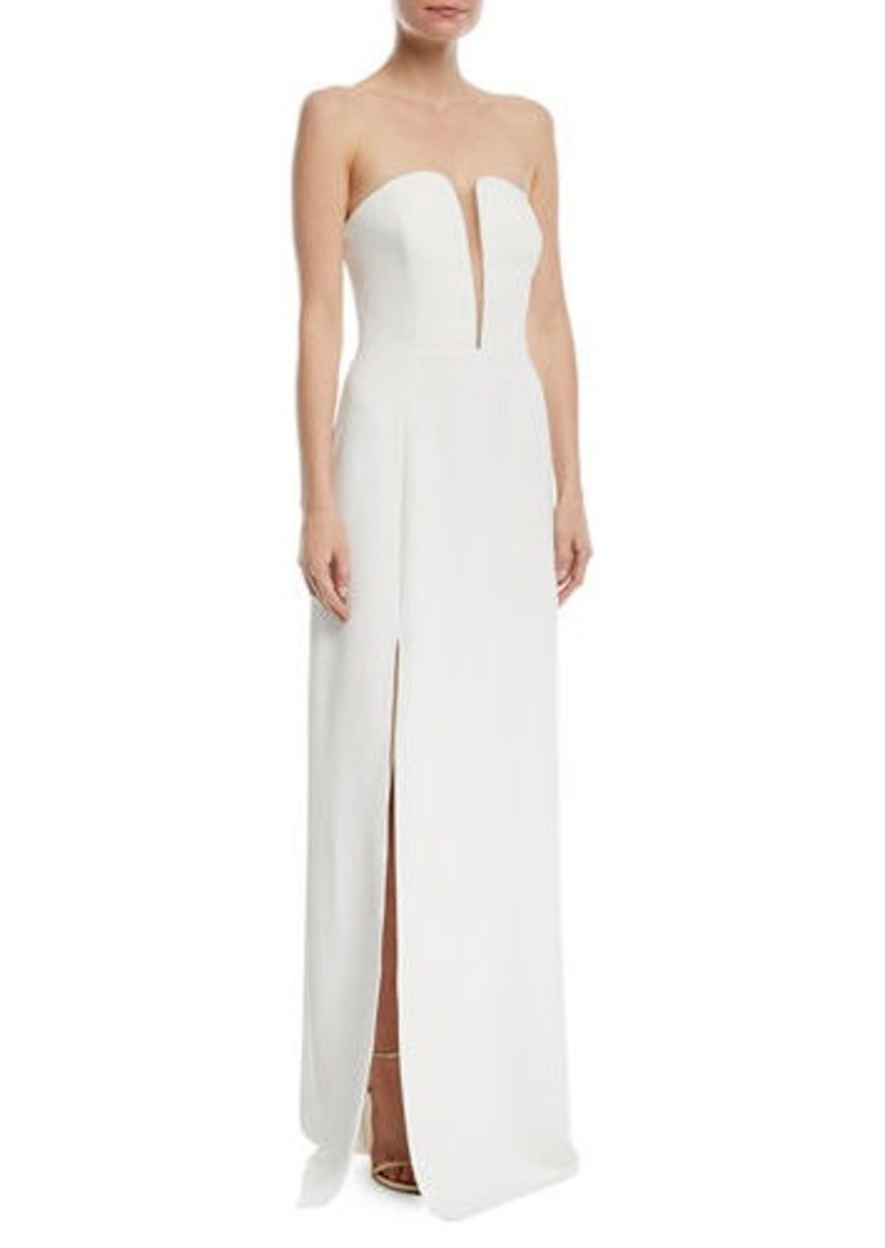 Halston Heritage Fitted Strapless Crepe Gown w/ Mesh Insert