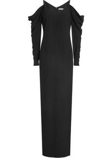 Halston Heritage Floor Length Gown with Cold Shoulders and Draped Sleeves