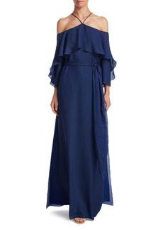 Halston Heritage Flounce Cold-Shoulder Gown