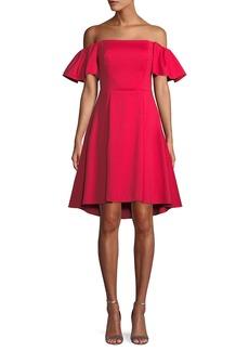 Halston Heritage Flounce-Sleeve Off-the-Shoulder Cocktail Dress