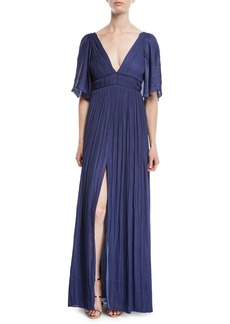 Halston Heritage Flowy Gown w/ Capelet & Pleating