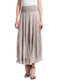 Halston Heritage Flowy Smocked Waist Skirt