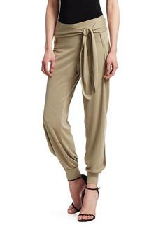 Halston Heritage Flowy Tapered Waist Tie Jersey Pants