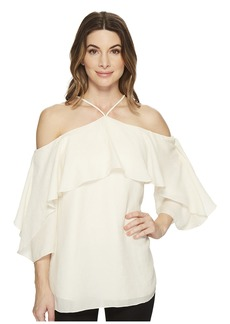 Halston Heritage Flutter Sleeve Cold Shoulder High Neck Top