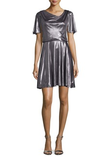Halston Heritage Flutter-Sleeve Metallic Cocktail Dress  Gunmetal