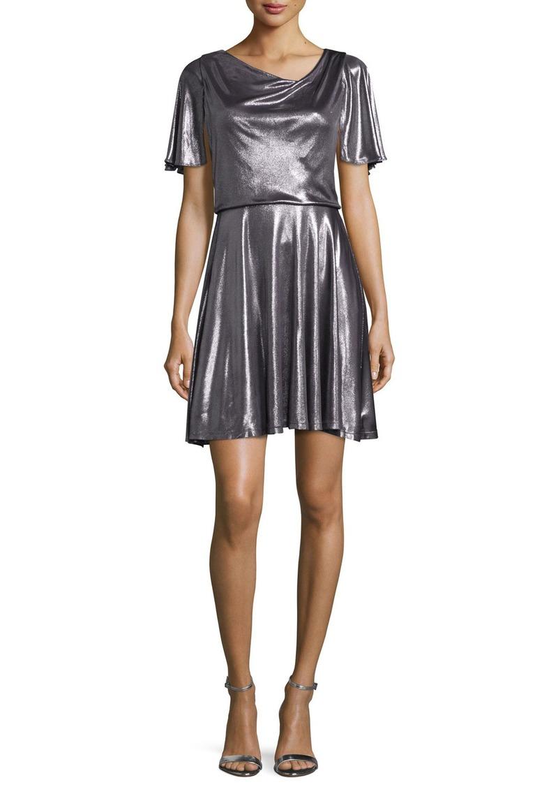 Halston Heritage Flutter-Sleeve Metallic Cocktail Dress  Gunmetal