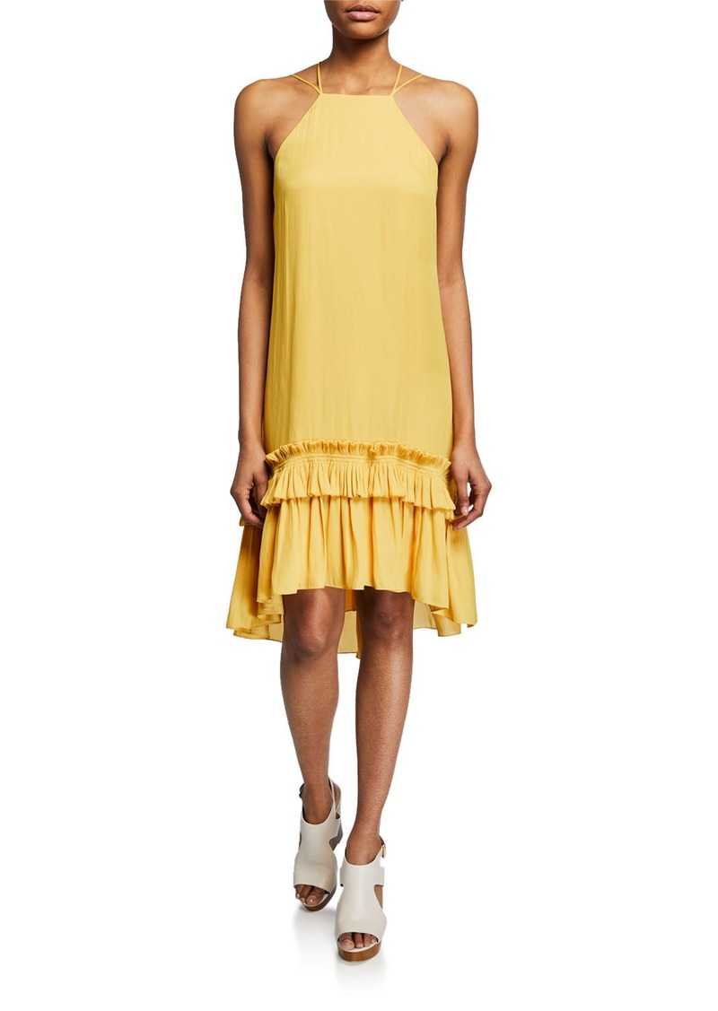 Halston Heritage Sleeveless Halter Dress with Pleated Ruffle High-Low Hem