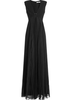 Halston Heritage Gown with Pleated Skirt and Embellishment