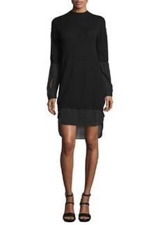 Halston Heritage 2-in-1 Layered Mock-Neck Sweaterdress w/ Shirttail Hem