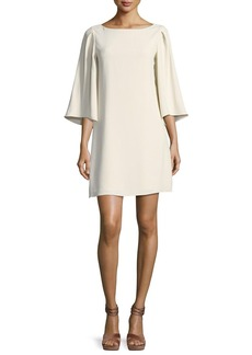Halston Heritage 3/4-Sleeve Boat-Neck Short Cocktail Dress