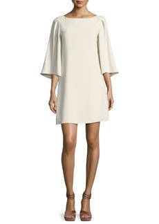 Halston Heritage 3/4-Sleeve Boat-Neck Short Cocktail Dress
