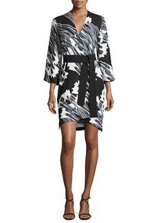 Halston Heritage 3/4-Sleeve Floral-Print Kimono Dress