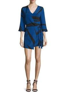 Halston Heritage 3/4-Sleeve Graphic Two-Tone Mini Dress