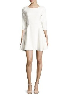 Halston Heritage 3/4-Sleeve Jewel-Neck Fit-&-Flare Dress