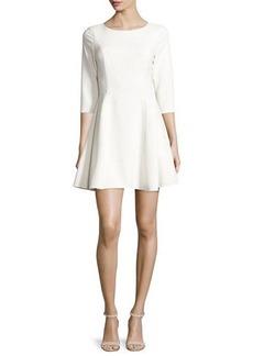 Halston Heritage 3/4-Sleeve Jewel-Neck Fit-&-Flare Dress