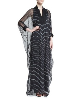 Halston Heritage 3/4-Sleeve Striped Caftan Gown