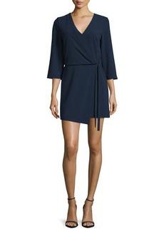 Halston Heritage 3/4-Sleeve V-Neck Mini Dress