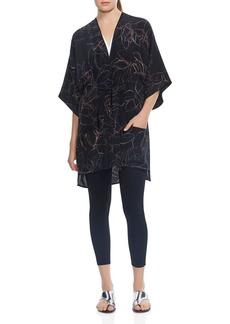 HALSTON HERITAGE Abstract Leaf-Print Kaftan Jacket
