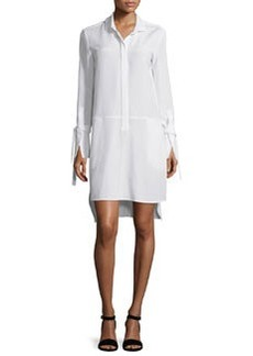 Halston Heritage Long-Sleeve High-Low Stretch-Faille Shirtdress