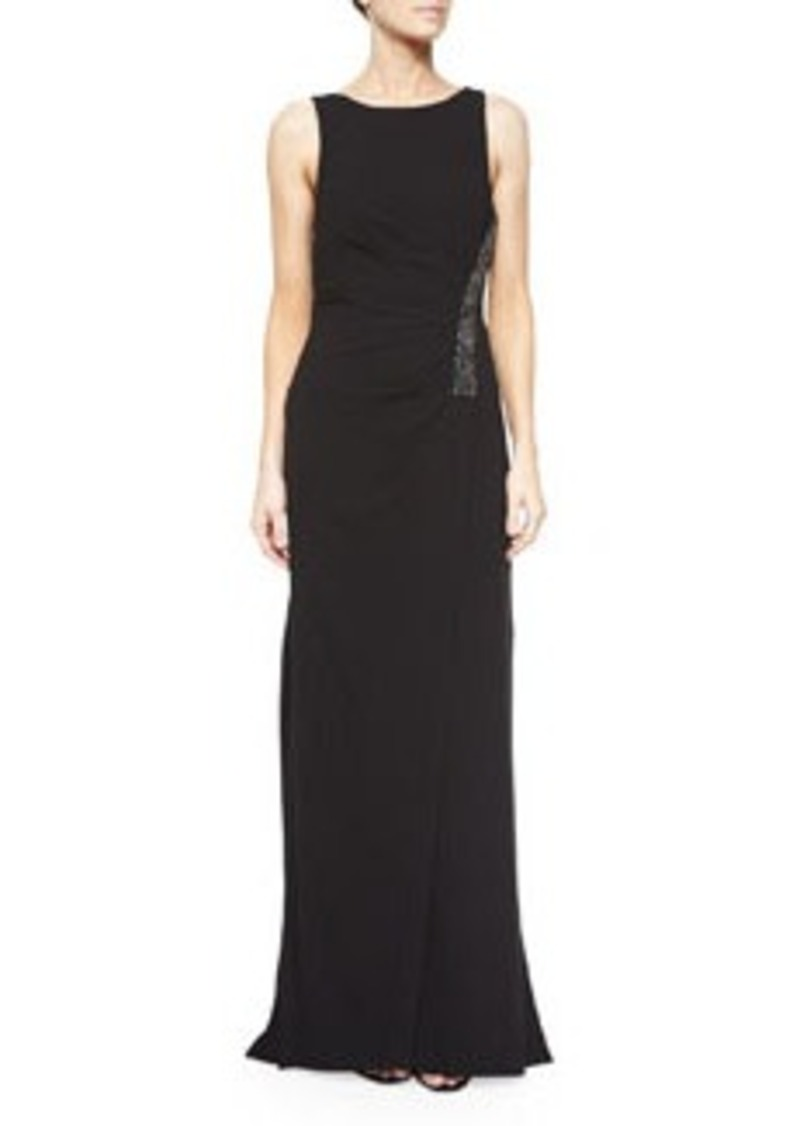 Halston Heritage Ruched Sleeveless Gown w/ Rhinestones