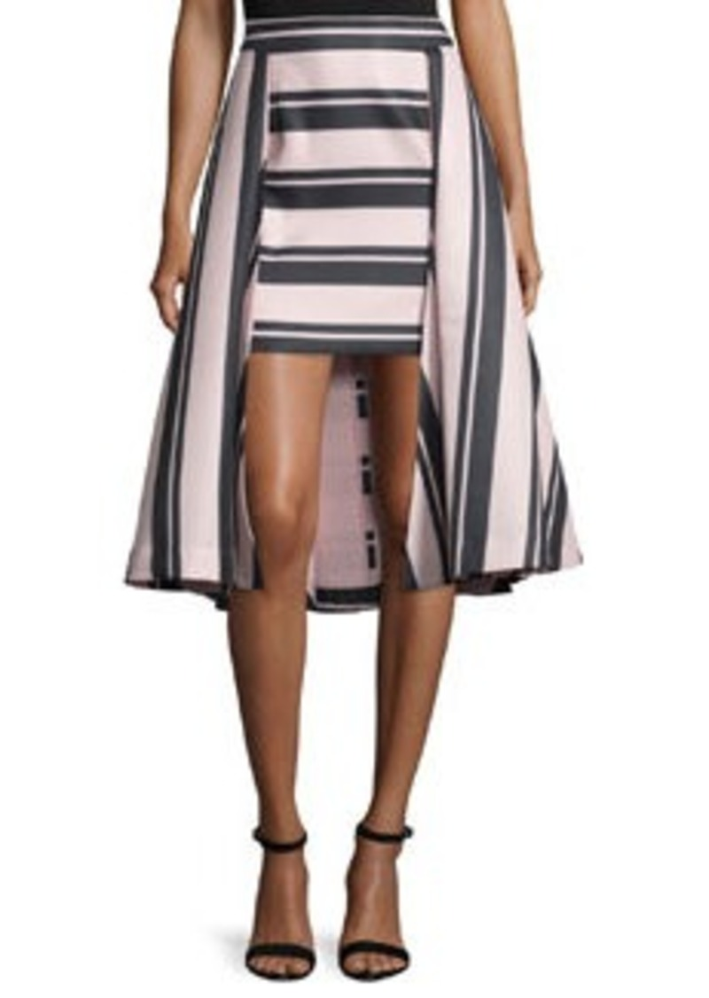 Halston Heritage Striped High-Low Structured Skirt