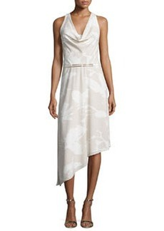 Halston Heritage Sleeveless Cowl-Neck Printed Dress