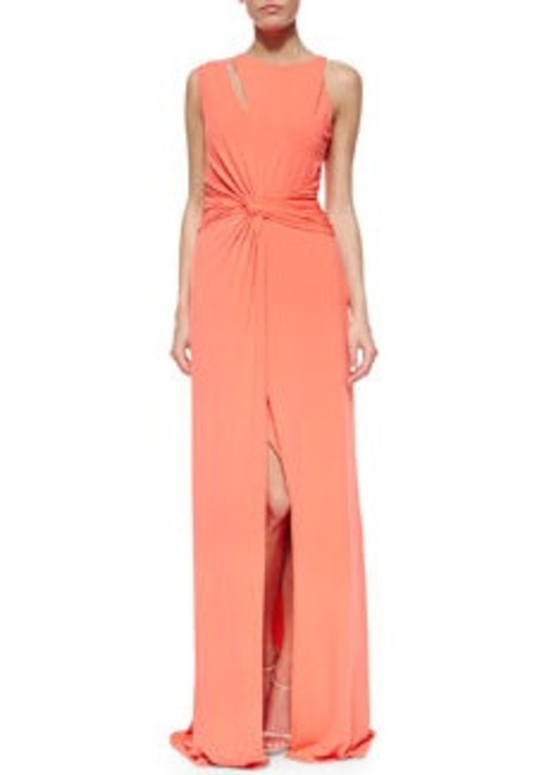 Halston Heritage Sleeveless Twist-Waist Gown