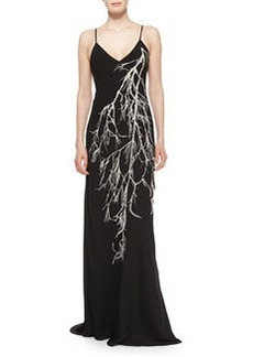 Halston Heritage Spaghetti Straps Embroidered Gown