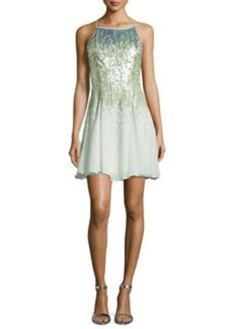 Halston Heritage Sleeveless Sequined Cocktail Dress