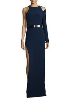 Halston Heritage Belted One-Sleeve Gown