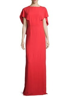 Halston Heritage Cape-Sleeve Crepe Gown