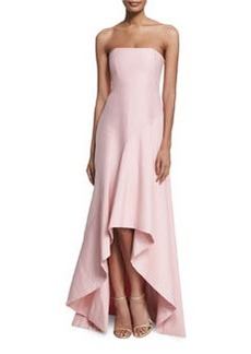 Halston Heritage Strapless Structured High-Low Gown