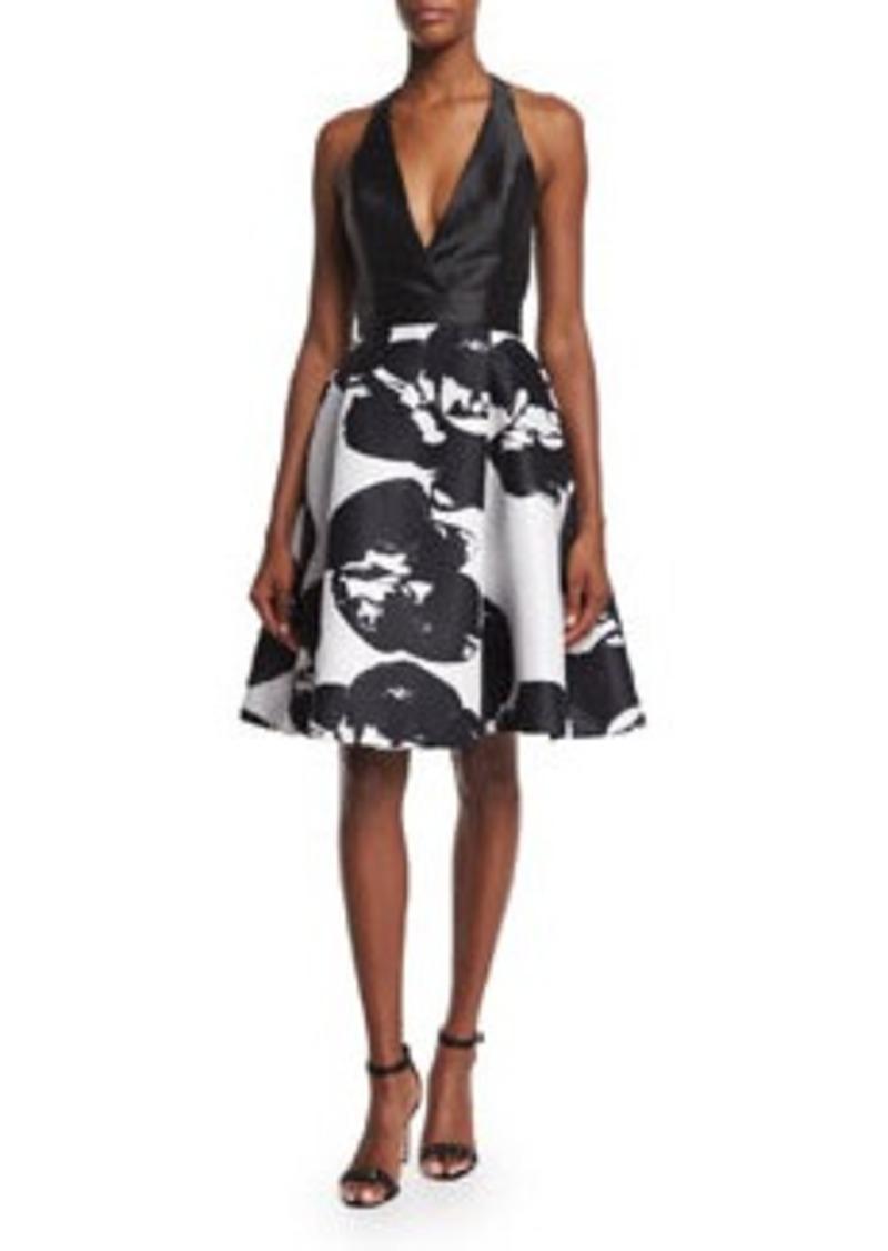 Halston Heritage Halter-Neck Two-Tone Dress
