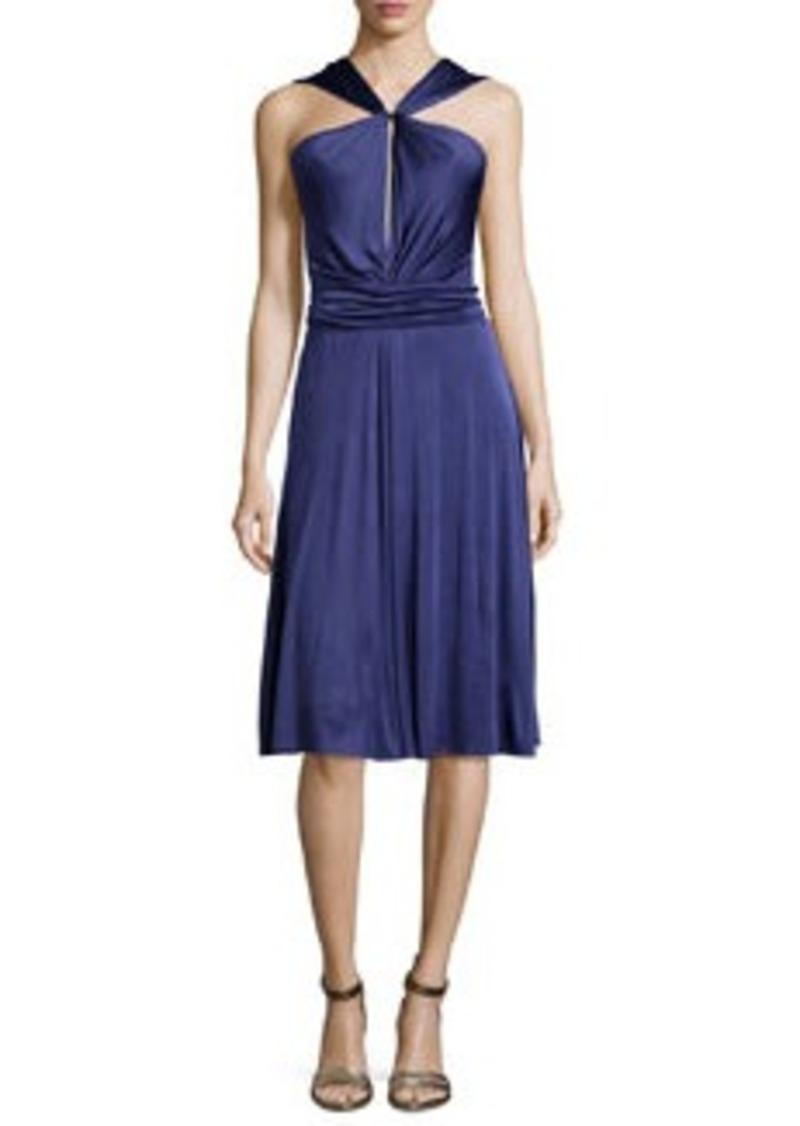 Halston Heritage Gathered-Waist Dress W/Tie