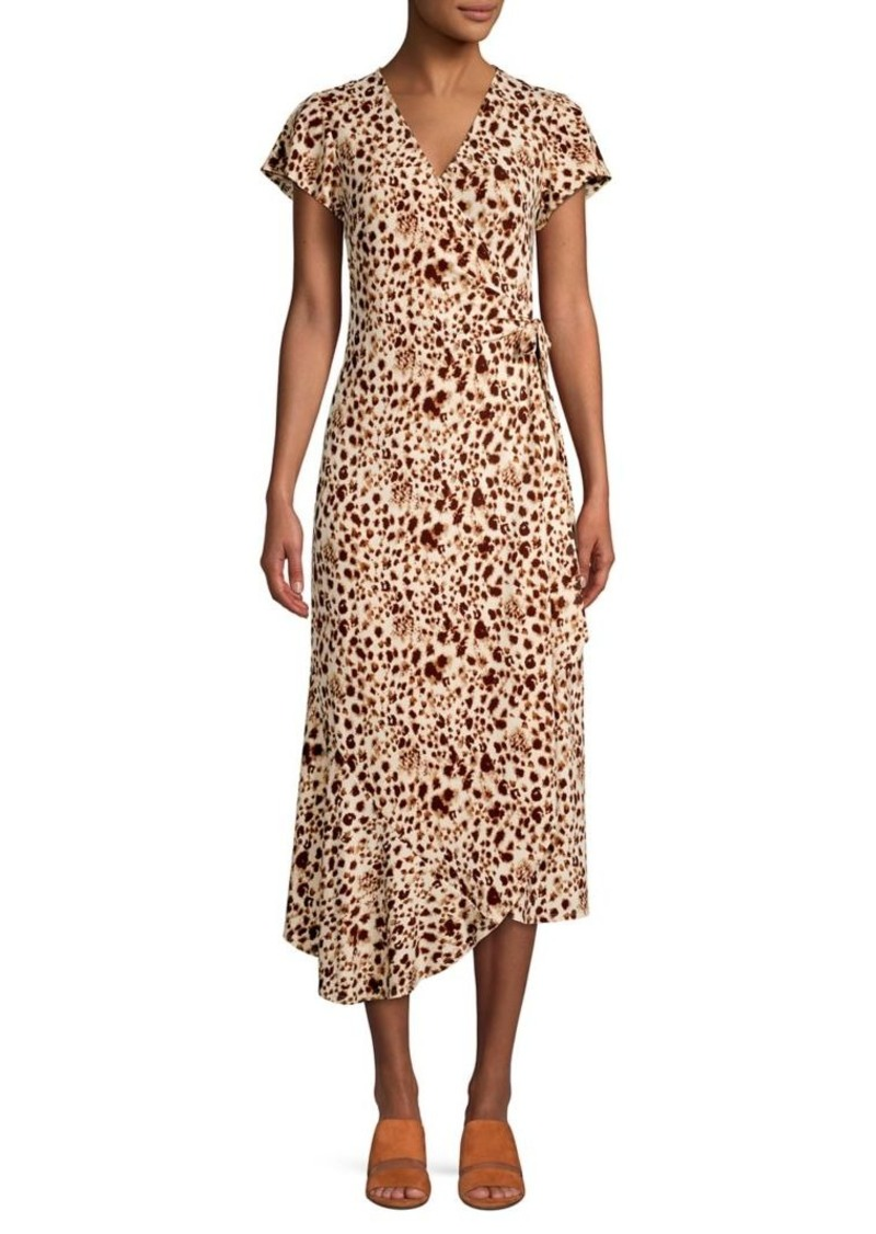 Halston Animal-Print Midi Wrap Dress